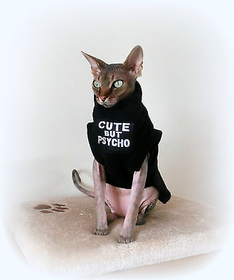 adult PSYCHO canadian Sphynx cat clothes, sweater for a cat, pet clothes, winte