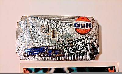 Vintage GULF Oil & Gas Company Belt Buckle - Rare! Tanker Driver Mike