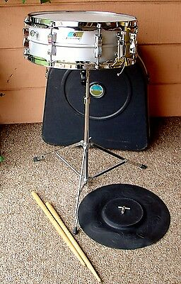 LUDWIG ACROLITE snare drum kit with Ludwig stand, practice pad , case & drum key