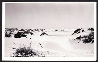 real photo Padre Island Port Isabel TX - truck Through Sand Dunes 1940's RPPC