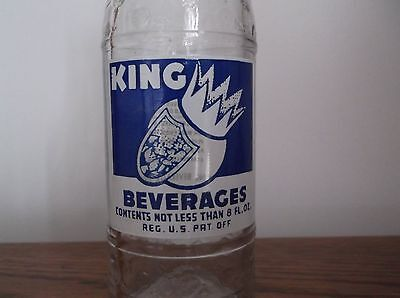 Vtg 1948 KING BEVERAGES ACL Soda Bottle, Crown and Shield, 8 oz. Boston, Mass