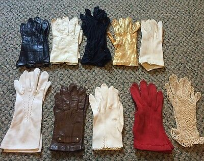 Lot of 10 Vintage Leather, Lace And Fabric Women's Gloves!!
