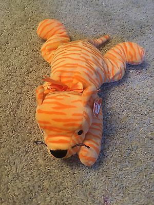 "1996 Ty Pillow Pals Orange Striped Purr Tiger Cat Plush Pillow Pal 14"" Long"