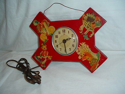 VTG 1940's TELECRON Kids Wall Alarm Clock ONE OF A KIND * MUST SEE  ESTATE FIND