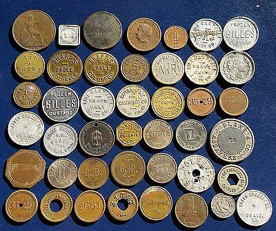 Mixed Foreign Coin & Token Lot- Good For Trade Bakery, Dairy, Mining, Vending