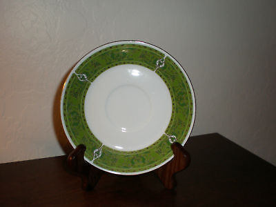 Bellini Fine China Saucer - Green/Gold Border - Made in Japan
