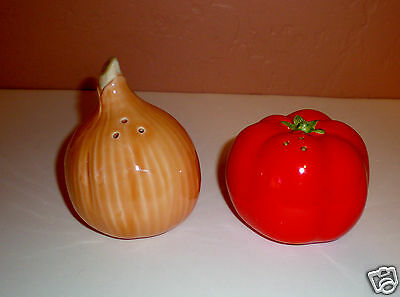 "1988 Hearth & Home ""Onion & Tomato"" Ceramic Salt & Pepper Shakers - New NO Box"