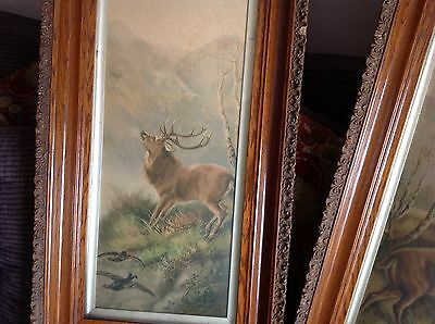 2 well worn Victorian Scottish highland stag pictures by R.Cleminson