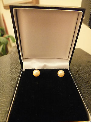 Golden yellow Akoya cultured pearl stud earrings, 14ct gold