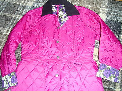 Girls Barbour jacket  cerise pink with Liberty Arts fabric lining XL  age 12/13