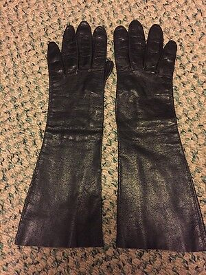 Vintage Ladies Kid Leather Balck Gloves Size S-Made In Italy!!