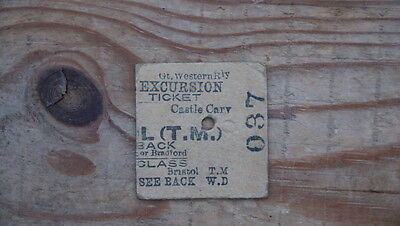 Great Western Railway Excursion ticket Castle Cary to Bristol TM