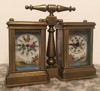 Brass & Porcelain Panelled Combination Carriage Clock & Barometer Open To Offers