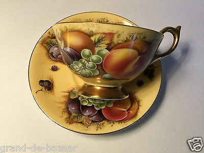Pretty Aynsley Bone China Orchard Gold Cup & Saucer Vintage