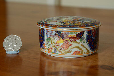 Attractive decorated Japanese Imari Ware porcelain trinket bowl with lid.
