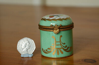 French hand painted porcelain pill storage box shell clasp.
