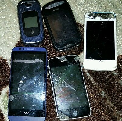 5 Cell Phones HTC iPhone Samsung For Parts or Repair as is