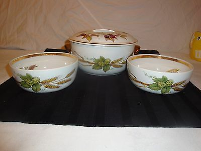 Royal Worcester Asparagus Corn Evesham Gold Covered Casserole Dish & 2 Bowls