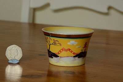 Pottery Noritake bowl with tree and bridge scene, gold rim, no damage or repairs