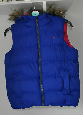 A Girls Blue Gilet With Fur Trim Hood Pink Lining From Primark Age 8 To 9