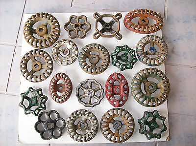 NICE old cast iron Valve Handles Water Faucet Knobs spigots steampunk lot three