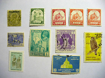 Burma Early / Old Selection of Stamps Elephant KGV VI lot744
