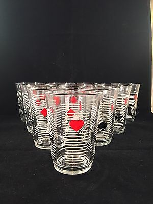 1950s Shot Glasses X 9 Poker, Playing Cards Man Cave Retro Vintage
