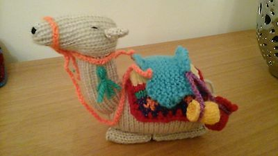 Hand knitted nativity camel
