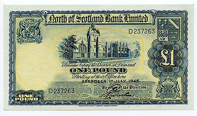 1945 North of Scotland Bank Limited 1£ Pound Note Pick# S-644