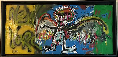 BASQUIAT SAMO SKULL NEW YORK by BEWARE-OF-DOG painting on cardboard signed