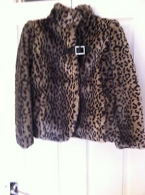 NEXT Leopard faux fur jacket coat beautiful item girls age 9-10 years  New