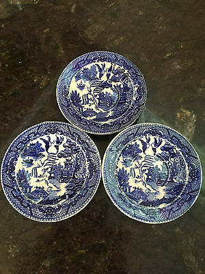 3 x Small Blue & White Vintage Willow Pattern Dishes