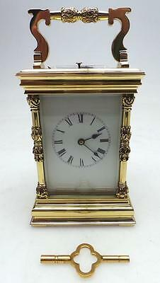 Rare Antique Repeat French 8 Day Ormolu Bronze & Glass Repeating Carriage Clock