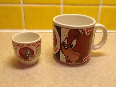 Tom & Jerry Cup Mug And Egg Cup 1994 A Collectors Item By Loews For Mgm