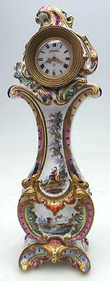 Great French Porcelain 8 Day Ceramic Miniature Longcase Mantel Clock by Angelus