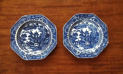 ANTIQUE pair of LATE 18th CENTURY fine transfer-printed plates
