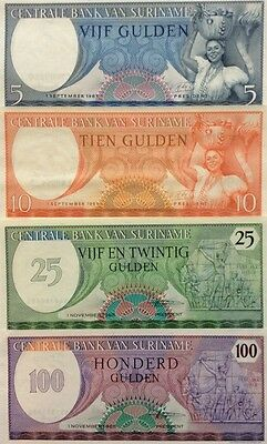 SURINAME 5 10 25 100 Gulden 1963/85 X4 GREAT RARE UNCIRCULATED BANKNOTES