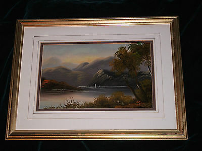 Original Victorian oil painting Boat on lake 1869 Signed