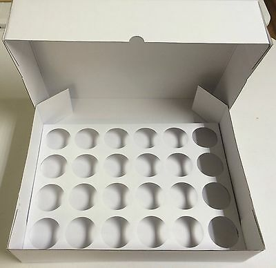 5 x STRONG White Corrugated Fairy Cupcake 24 Hole Muffin Box Insert Tray