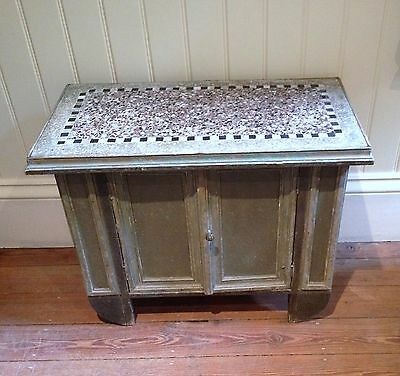 ANTIQUE French low cupboard, wonderful ORIGINAL PAINT, mosaic top, C1880