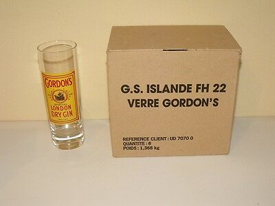 Lot 6 Verres Gordon's London Dry Gin Neufs
