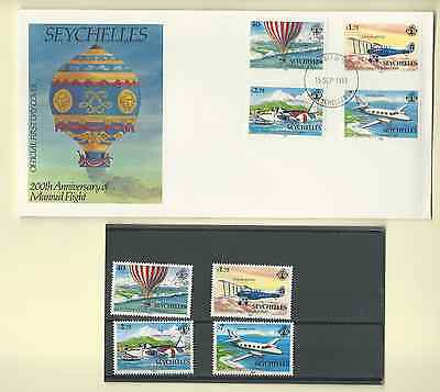 SEYCHELLES 1983 OFFICIAL FDC & MNH SET SC 519-22 200th ANNIVERSARY MANNED FLIGHT