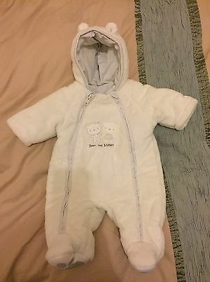 Mothercare Unisex New Baby Soft Padded Snowsuit Pramsuit All-in-One
