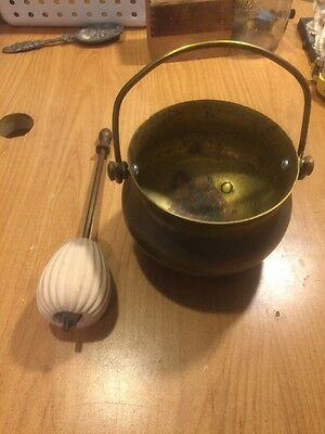 Vintage Brass Fire Starter Smudge Pot And Wand