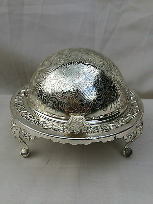 Lovely Vintage Ornate Silver Colour Revolving Dome Caviar/ Butter Dish