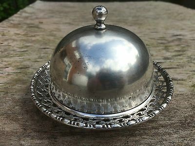 Lovely Vintage Ornate Epns Butter Dish / Caviar With Lid Hallmarked