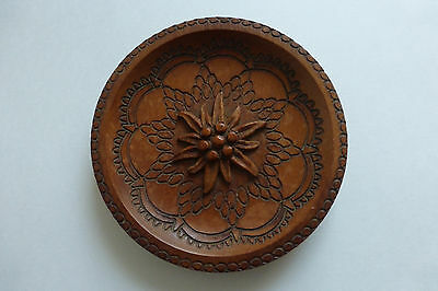 Black Forest Carved Wooden Edelweiss Dish ornamental plate
