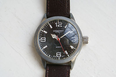 "Military Styled "" Constant "" Gents S/s Quartz Wrist Watch"