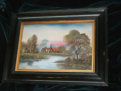 Original Victorian? oil painting Church at sunset c1880s Signed