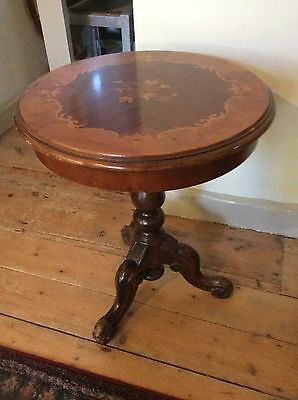 Antique Small Round Drum Top Side Table